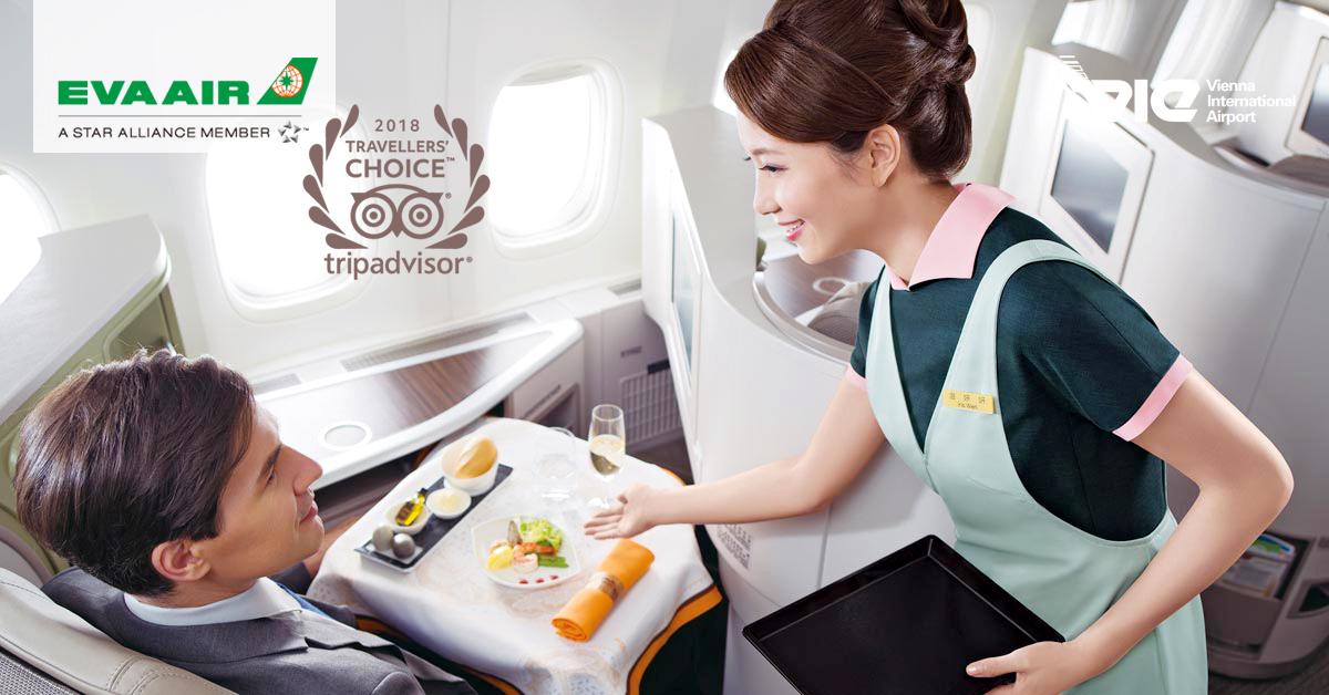 EVA Air vyhrala tohtoročné ocenenie Travellers' Choice na portáli TripAdvisor